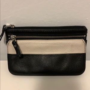 Fossil black and white wallet